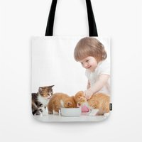 child Tote Bags featuring Child by iD70my