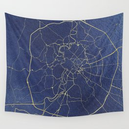 Rome Blue and Gold Street Map Wall Tapestry