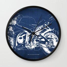 Suzuki motorcycle blueprint, white line, blue vintage background Wall Clock
