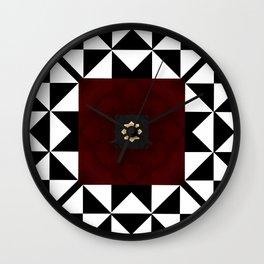 Ruby Red Marble w/ Blk & White Geometrica Pattern Insert Wall Clock