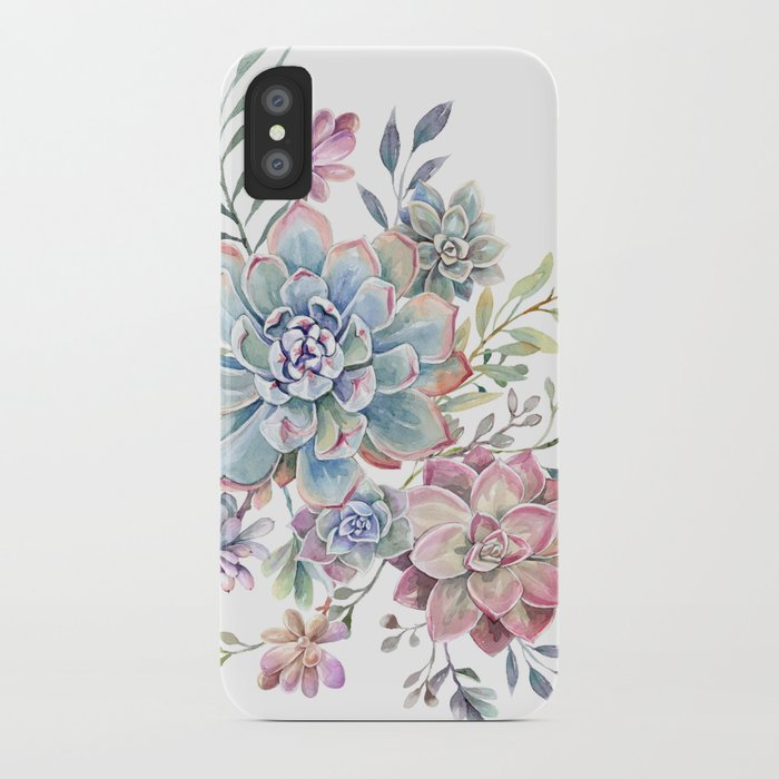 succulent watercolor 6 iphone case