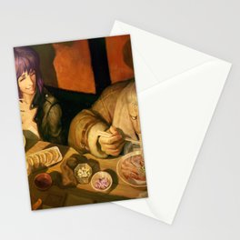 digital artwork Ghost in the Shell androids eating Asian Kusanagi Motoko manga movie characters anime Wojtek Fus Batou high angle Stationery Cards