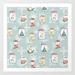 Christmas Jars Mint Art Print