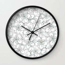 Cherry Blossom Mint Wall Clock