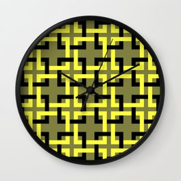 Squares mosaic olive and yellow Wall Clock