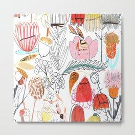 Collage Flowers - Red Metal Print