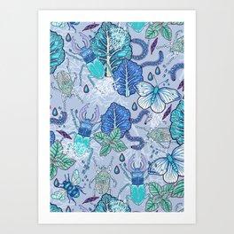 Frozen bugs in the garden Art Print