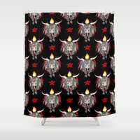 baphomet Shower Curtains featuring Baphomet V1 by Savannah Horrocks