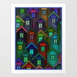 Blue Jeans Housing Compound (2) Art Print