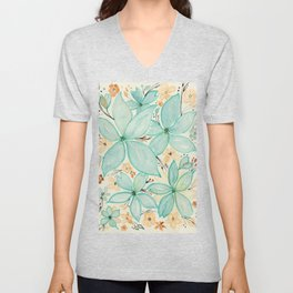 Blue Green and Beige Flower Mix Pattern - Floral Watercolor Custom Art Design Unisex V-Neck
