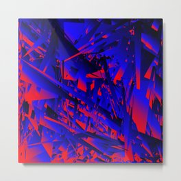 Explosion of geometric shapes. Abstraction on a theme of chaos in the universe. Metal Print
