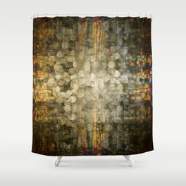 """""""Abstract golden river pebbles"""" Shower Curtain"""