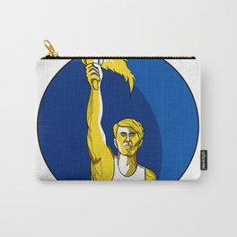 Athlete With Flaming Torch Drawing Carry-All Pouch