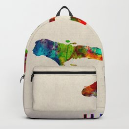 Haiti Map in Watercolor Backpack
