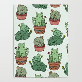 Cacti Cat pattern Poster