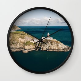 Aerial view of The Baily Lighthouse on Howth Head. Wall Clock