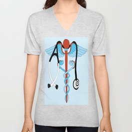 medical caduceus and stethoscope Unisex V-Neck
