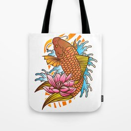 Traditional Japanese Koi Fish Tattoo With Wave And Flower Background Tote Bag