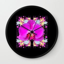 BLACK PURPLE BUTTERFLY ORCHID WHITE MUMS Flowers Wall Clock