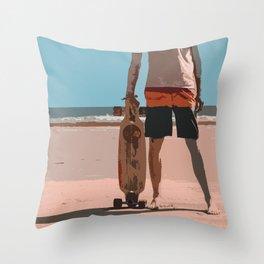 Retro Surf Long board Dude Throw Pillow