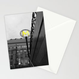 Paris metro black and white with color GOLD Stationery Cards