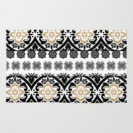 Black white faux gold glitter hand painted floral aztec Rug