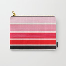 Red Minimalist Mid Century Modern Color Fields Ombre Watercolor Staggered Squares Carry-All Pouch