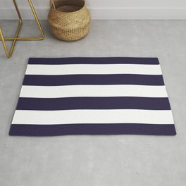 Dark eclipse Blue and White Wide Horizontal Cabana Tent Stripe Rug