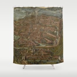 Vintage Map of Ghent Belgium (1534) Shower Curtain