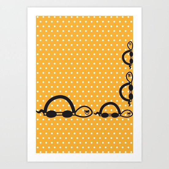 """""""I can swim in ORANGE polka dot!"""" Art Print"""