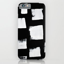 Marshmallows: a minimal abstract black and white square mudcloth pattern by Alyssa Hamilton Art iPhone Case