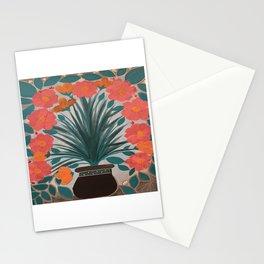 Orange Tropical Flower Pot Paintin Stationery Cards
