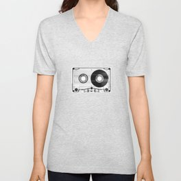 1980's Retro Black-White Vintage 80's Cassette Eighties Technology Art Print Home Decor Wall Decor Unisex V-Neck