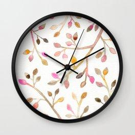 Pastel Leaves Wall Clock