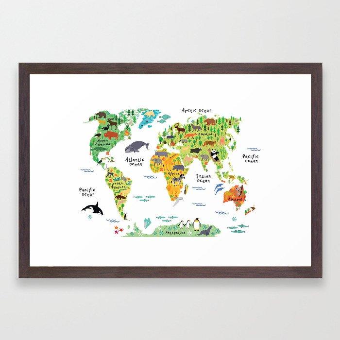 Animal world map framed art print by littleuniverseshop society6 gumiabroncs Choice Image