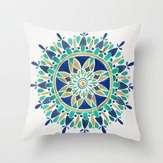Mandala – Gold & Turquoise Throw Pillow