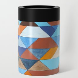 Triangle Pattern no.18 blue and orange Can Cooler