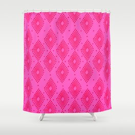 Mudcloth Dotty Diamonds in Neon Pink + Red Shower Curtain