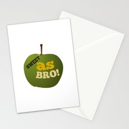 Green apple SWEET AS BRO Stationery Cards