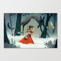 red hood Canvas Prints featuring red hood by brutal moineau