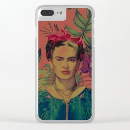 frida in flowers Clear iPhone Case