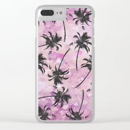 Abstract Artsy Watercolor Pink Black Palm Tree Clear iPhone Case