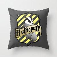 hufflepuff Throw Pillows featuring Hufflepuff Crest by AriesNamarie