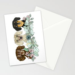 Triple Dachshunds Floral Stationery Cards