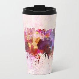 Curitiba skyline in watercolor background Travel Mug