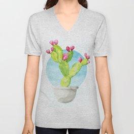 Cactus Bulb Watercolor Unisex V-Neck