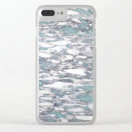 Teal spotted marble Clear iPhone Case