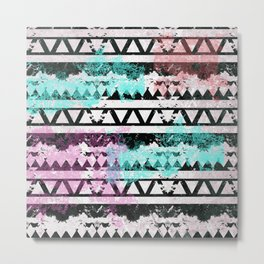 Black and White Aztec Pattern Metal Print