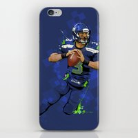 seahawks iPhone & iPod Skins featuring Russell Wilson QB 3 Seattle Seahawks by Akyanyme