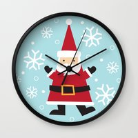 santa Wall Clocks featuring Santa by Claire Lordon